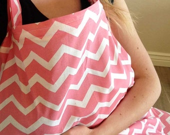 Coral Chevron Nursing Cover - FREE SHIPPING in USA