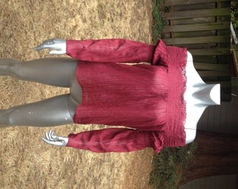 """Off the Shoulders Top in Burgundy – Elastic Gathered """"Bubbled"""" Sleeves – Lightweight Cotton in 3 sizes"""