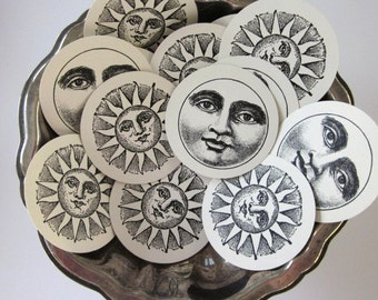 Sun Moon Face Tags Round Gift Tags Set of 10