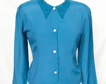 teal lace collar blouse M/L