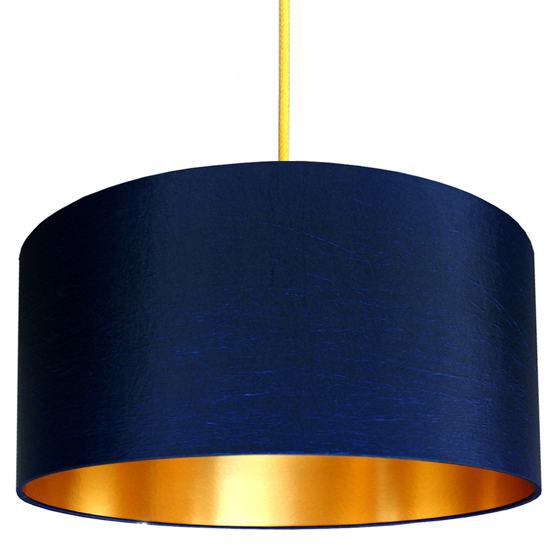 Midnight Blue Handmade Fabric Lampshade With Gold Or Brushed