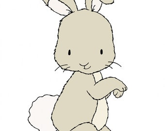 Bunny Nursery Art -- Little Bunny -- Woodland Nursery Art -- Nursery Art Print, Bunny Art, Children Art Print -- Kids Wall Art