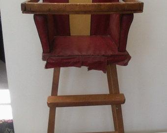 Vintage Wood & Red Vinyl Doll Highchair - Doll High Chair