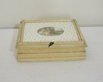 Vintage Carved Jewelry Box with Glass Top & Mirror