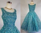 1950's Vintage Blue Floral Chiffon Party Dress by Natlynn