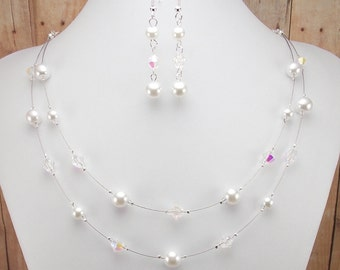 White Pearl Necklace and Earring Set - Double Strand Glass Pearl with Aurora Borealis Beads - Bride - Bridesmaid