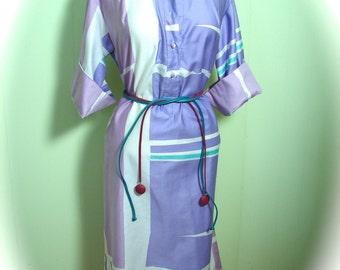 Vintage 1960s Penthouse Ogust Dress / 60s Bold Print Colour Dress L - on sale