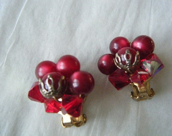 Red Earrings Clip Pearly Beads and Aurora Borealis Rhinestones