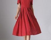 Red linen dress  women linen dress midi dress (974)