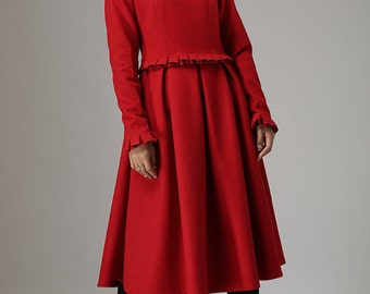 chic dress, Red wool dress, winter dress, maxi dress, romantic dress, maxi dress, wool dress, long dress, long sleeve dress, boat neck 741