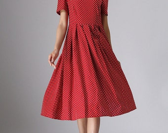 linen dress, polka dot dress, midi dress, womens dresses, red polka dot dress, cocktail dress,party dress,retro dress, made to order (974)
