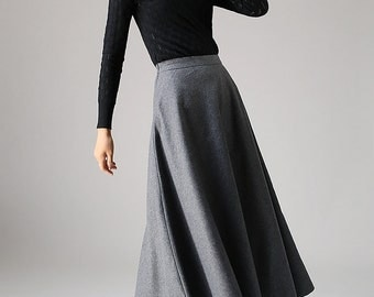 Linen skirt grey skirt maxi skirt Pleated skirt womens