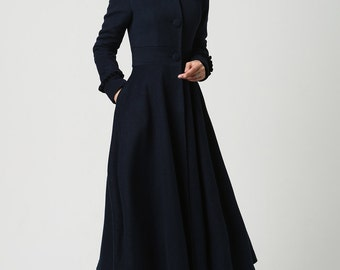long wool coat, Womens coats, Navy Blue coat,  Wool Coat, Hooded Coat, long jacket, plus size Coat, mod clothing, Custom made clothing  1102