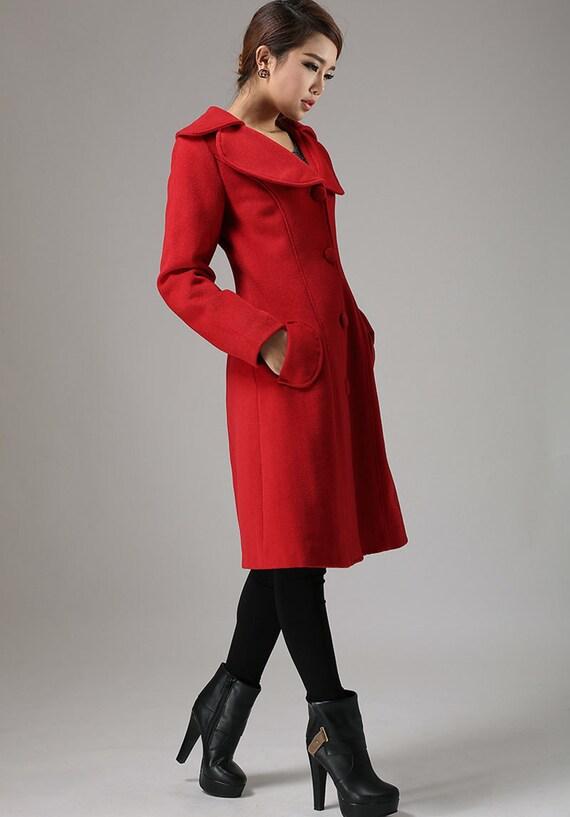 Red jacket winter cashmere coat long sleeve coat  (726)