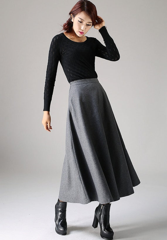 Long skirtA line Skirt wool skirt gray skirt ladies skirt