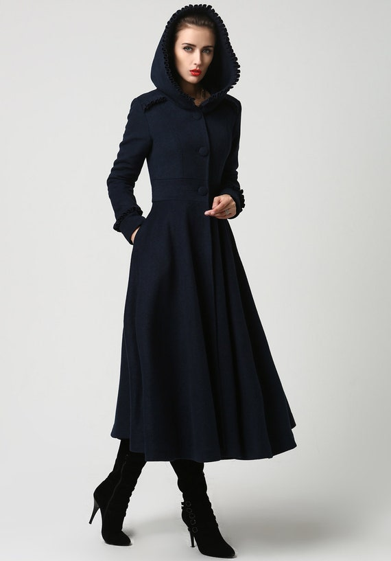 long wool coat Womens coats Navy Blue coat Wool Coat by xiaolizi