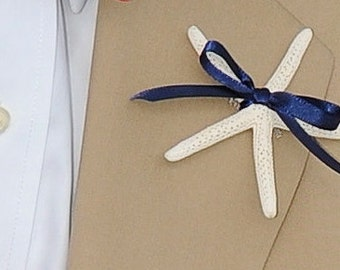 Starfish Boutonniere with 23 ribbon choices for Beach Weddings, Wedding Starfish, Starfish Lapel Pin, Nautical Weddings