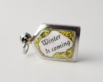 Game of Thrones Inspired Locket, Winter Is Coming, Wolf, Terrarium Locket Necklace,  Mini Curio Display, Natural World