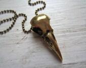 Raven Skull Pendant - Heavy Golden Bird Skull Pendant on Long Antique Brass Metal Ball Chain