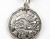 Mayan Twin Feathered Spirits - Fine Silver Pendant for a Man or a Woman - Valentine's Gift - Ying Yang Pendant - Fine Silver Mayan Pendant