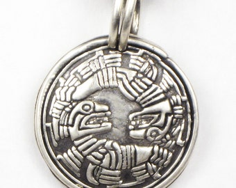 Mayan Twin Feathered Spirits - Fine Silver Pendant for a Woman - Unique Gift - Ying Yang Pendant - Fine Silver Mayan Pendant Gift