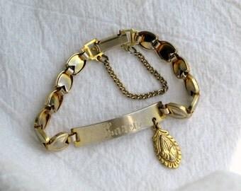 Girls KAREN ID Bracelet 1928 Brand Vintage Signed Jewelry