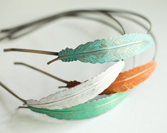 Fly Away - Feather Headband - Hand Painted Antique Bronze