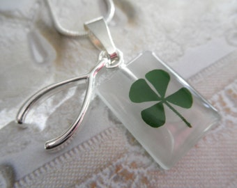 Real 4 Leaf Clover White Cat's Eye Rectangle Pendant w/Wishbone Charm-Lucky Me-Symbolizes Luck, Love, Hope, Faith-Gifts Under 30