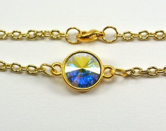 Clear Crystal Gold Chain Bracelet Sparkly Gold Swarovski Jewelry Clear Crystal Bracelet