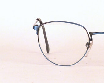 "Vintage Eyeglasses / Turquoise Eye wear / Unisex eyeglasses / Aqua Blue / Thin metal wire rim frame / Rx Round Lens / Nose pads / 2"" x 1.75"""