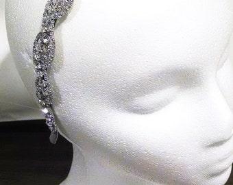 Bridal Crystal Headband, Rhinestone Wedding Headband - Silver OR Gold