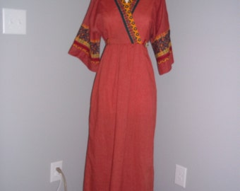 Vintage Maxi Dress Red Tribal - Bell Sleeves - by Gilead - Medium - Hippie Boho