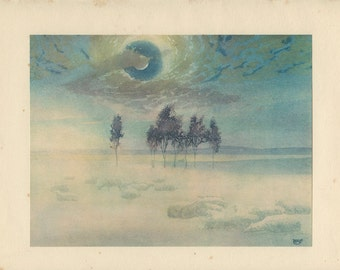 October Mist, Pastel Landscape, 1928, Vintage Print (6) from an Etching by William Giles, Photogravure