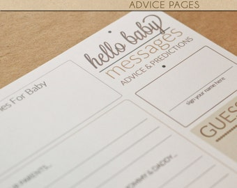 Baby Shower Advice Pages - NEUTRAL