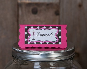 Bridal Shower Food Tents - Menu Cards - Place Cards - Food Signs - Lingerie Shower Decorations - Bachelorette Party in Pink and Black Dots