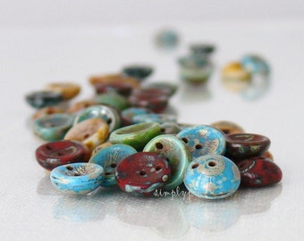 Piggy Mixed Picasso Two-Hole Disc Czech Beads 8mm 20 Glass Concave