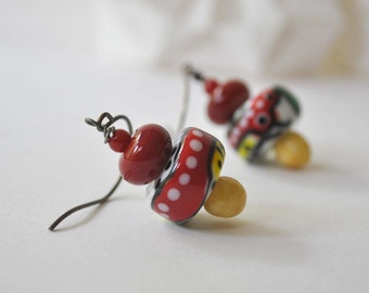 Abstract Earrings, Colorful Earrings, Lampwork Glass Earrings, Glass Bead Earrings