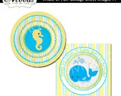 WHALE FUN / Birthday, Baby Shower, Party / 2 inch Square Digital Collage Sheet - cupcake toppers, stickers, scrapbook embellishment, etc.