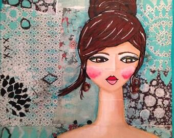 "Original Mixed Media on 9x12 Canvas - Painting Home Decor Artwork - Folk Art - ""Sophisticated Girl"""
