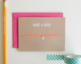 Make A Wish - Charm Card - Star - Silver - friendship necklace & bracelet - good luck - bridesmaid - birthday - best friends - bff - love