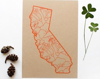 California Screen Print - 5x7 - Poppies - original screen print - ooak - state flower - california poppy - kraft - orange