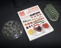 Set of 3 Vintage Flower Arranging Items / Vintage Flower Arranging Book + Vintage Clear Glass Floral Frog + Antique Green Metal Floral Frog