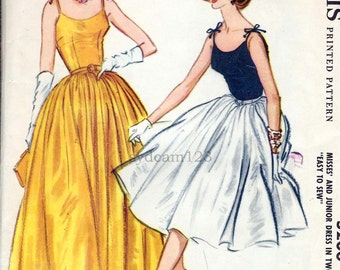Vintage 1959 Pattern Tie Shoulder Full Skirt Cocktail or Evening Gown Scoop Neck 1950s McCalls 5200 Bust 32 UNCUT