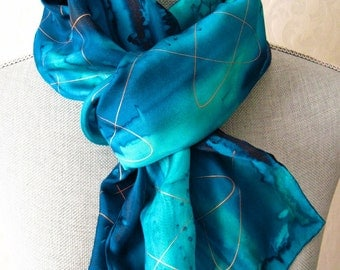 Ocean Blues with Gold Hand Dyed Silk Scarf
