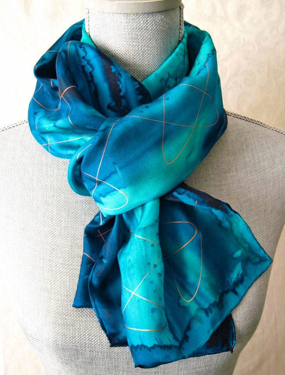 blues with gold dyed silk scarf