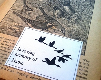 In Loving Memory Booklabels Migration Birds 50 Personalized Ex Libris Bookplates