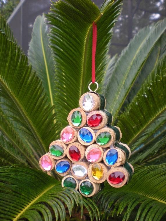 Handmade Wine Cork Christmas Tree Ornament