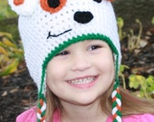 Bubble Puppy hat with braided tassels from Bubble Guppies, sizes Newborn, 3-6 m, 6-12m, 1-2T, 2t and up, and Adult, Halloween costume