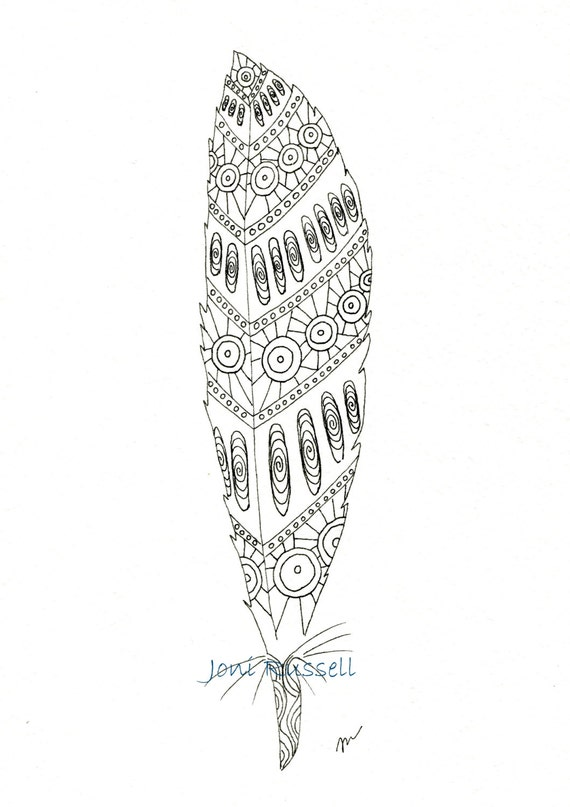 Items similar to tribal feather digital coloring page on etsy for Coloring pages of feathers