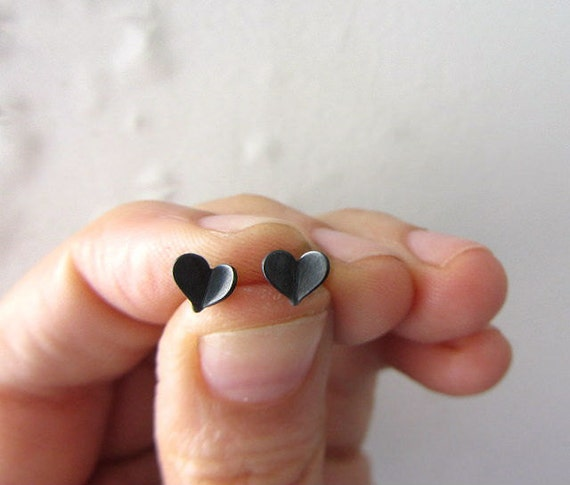 Tiny black heart studs, oxidized sterling silver post earrings.